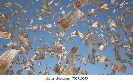 1000 Hong Kong Dollar (HKD), Hong Kong banknotes flying Isolated on blue sky background, 3D Rendering