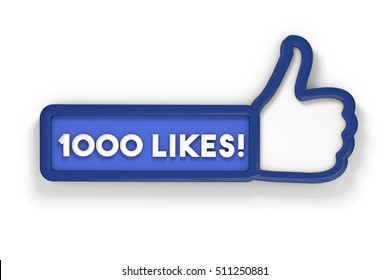1000 likes thumbs up social media banner. 3D rendering