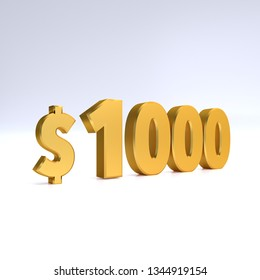 1000$ price symbol. gold text number 3d render with dollar sign