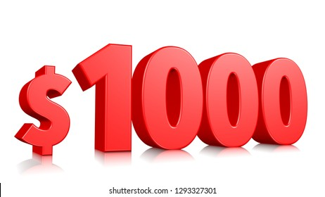 1000$ price symbol. red text number 3d render with dollar sign on white background