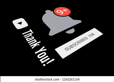 10000 Ten Thousand Subscribers, Thank You, Bell Icon, Black Background, Concept Image, 3D Illustration