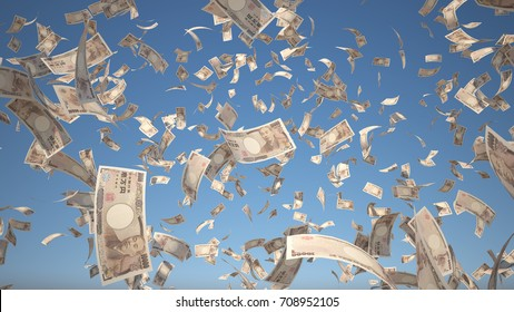 10000 Yen banknotes (Japan Money) flying Isolated on blue sky background, 3D Rendering