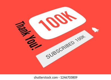 100000 One Hundred Thousand Subscribers, Thank You, Number, Red Background, Concept Image, 3D Illustration