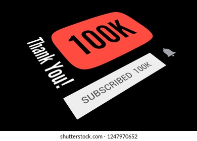 100000 One Hundred Thousand Subscribers, Thank You, Number, Black Background, Concept Image, 3D Illustration