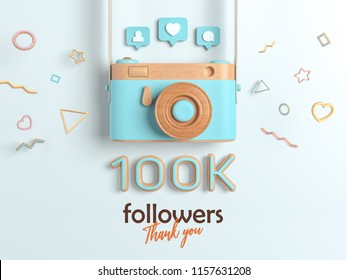 100k or 100000 followers thank you, Blue Retro Photo Camera and multicolor Figures. 3D Illustration for Social Network friends, followers, Web user Thank you celebrate of subscribers.