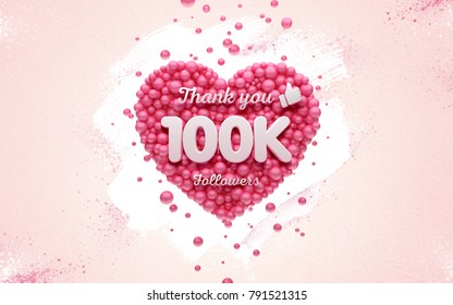 100k or 100000 followers thank you Pink heart and red balloons, ball. 3D Illustration for Social Network friends, followers, Web user Thank you celebrate of subscribers or followers and likes.