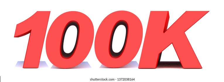 100k or 100000 thank you 3d word on white background. 3d illustration for Social Network friends or followers, like