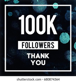 100k Followers Thank You message to fans and followers in abstract marble design