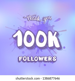 100k followers thank you social media template. Banner for internet networks. 100000 subscribers congratulation post.