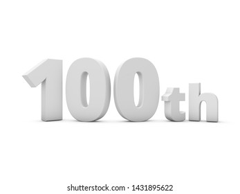 100th Anniversary. 3D Rendering Illustration Isolated On White Background.