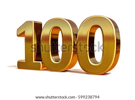 100th Anniversary Birthday 100 Years Number One Hundred Gold Numeral