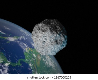 The 101955 Bennu, a carbonaceous asteroid in the Solar System, a potentially hazardous object impacting the Earth in the future.  As illustration or background. 3D rendering.