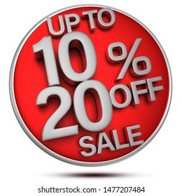 Up to 10-20% off sale 3d rendering on white background.(with Clipping Path).