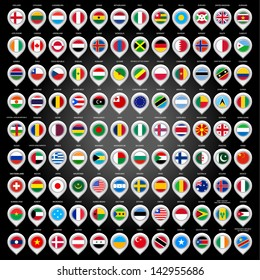 108 Map marker with flags. Vector version (eps) also available in gallery