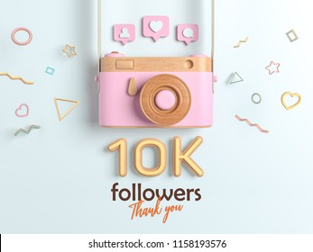 10k or 10000 followers thank you, Pink Retro Photo Camera and multicolor Figures. 3D Illustration for Social Network friends, followers, Web user Thank you celebrate of subscribers.