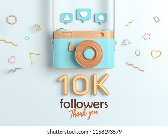 10k or 10000 followers thank you, Blue Retro Photo Camera and multicolor Figures. 3D Illustration for Social Network friends, followers, Web user Thank you celebrate of subscribers.
