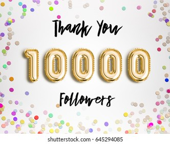 10k or 10000 followers thank you Gold balloons and colorful confetti, glitters. Illustration for Social Network friends, followers, Web user Thank you celebrate of subscribers or followers and likes.