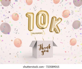 10k, 10000 followers thank you with gold balloons and colorful confetti. Illustration 3d render for social network friends, followers, web user Thank you celebrate of subscriber, followers, likes