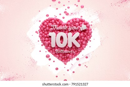 10k or 10000 followers thank you Pink heart and red balloons, ball. 3D Illustration for Social Network friends, followers, Web user Thank you celebrate of subscribers or followers and likes.