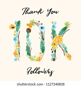 10k followers background with floral watercolor for social media