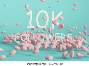 10K Followers banner. Template for social media post for Followers and Subscribers. 3D rendering.