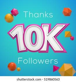 10K likes online social media thank you banner. 3D rendering