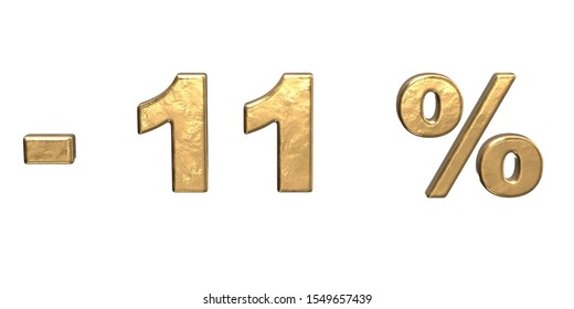 11% of discount. Golden eleven percent sale. 3d render isolated on white background