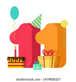 11 year greeting card Birthday. 11th anniversary celebration Template. eleven number and festive piece of cake with candle. Balloon and Gift box.