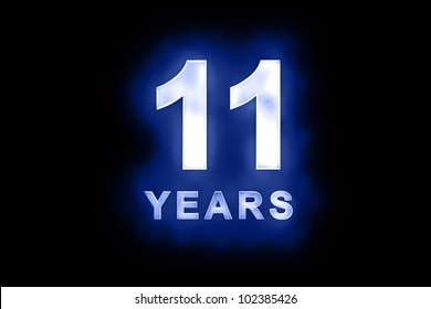 11 Years in glowing white numbers and text with a mottled patterning on blue background suitable for a birthday, celebration or anniversary