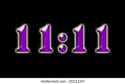 11:11 / elevens  -  text design with numbers in purple with a white glow on a black background.