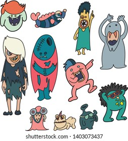 11monsters, themes Standing in front of the board  background, illustration