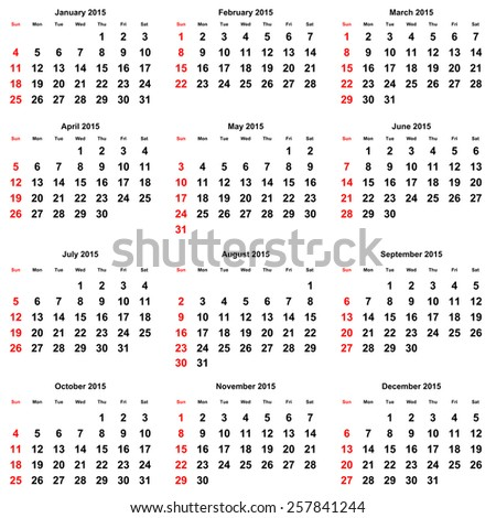 12 months of the annual calendar 2015 year