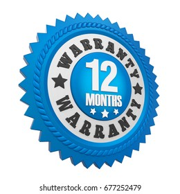 12 Months Warranty Badge Isolated. 3D rendering