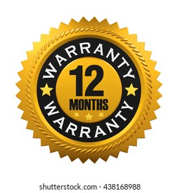 12 Months Warranty Sign. 3D rendering