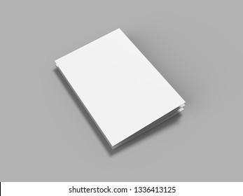 12 page leaflet, 6 panel accordion fold, concertina fold isolated on light grey background, 3d illustration.