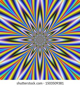 12 Pointed Star / A digital fractal work with an optically challenging twelve pointed star design in green, violet, yellow, red and blue.