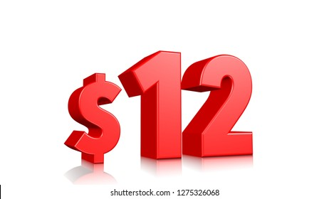 12$ price symbol. red text 3d  render with dollar sign on white background