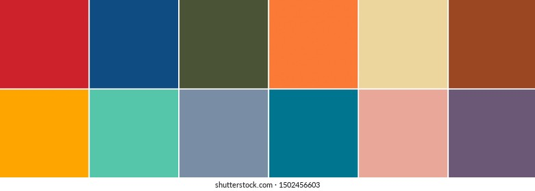 12 top color swatches from Color Trend Report for Spring / Summer 2020 in banner format