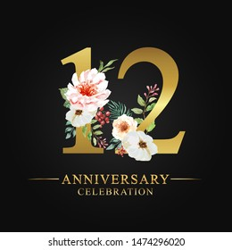 12 years anniversary celebration logotype. Flower made of paint floral and leaf watercolor on gold numbers layer path, clipping path isolated on black background. Design for wedding invites card.