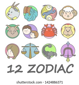 12 Zodiac / Horoscope colorful icon set