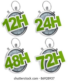 12H, 24H, 48H, 72H sticker over a gray stopwatch, image isolated over a white background