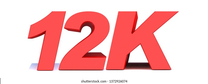 12k or 12000 thank you 3d word on white background. 3d illustration for Social Network friends or followers, like