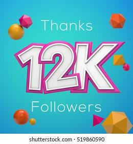 12K likes online social media thank you banner. 3D rendering
