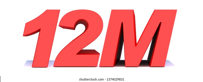 12M or 12 million followers thank you 3d word on white background. 3d illustration for Social Network friends or followers, like