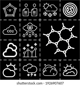 13 lineal dioxide icons set related to cloudy, atmosphere, allotropy, graphene, line chart, snowy, co2, snowing, co2 gas pixel perfect icons.
