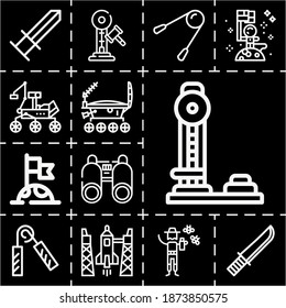 13 lineal weakness icons set related to binoculars, rocket, moon rover, flag, moon, bug repellent, lunojod, knife, strength, hammer, exercising pixel perfect icons.