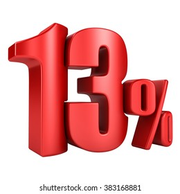 13 percent 3D in red letters on a white background
