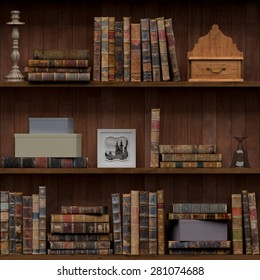 13of15 Old books seamless texture (vertically and horizontally). Tiled Bookshelf Background. Also tiled with other 15 textures from same pack in my gallery. With vintage stuff