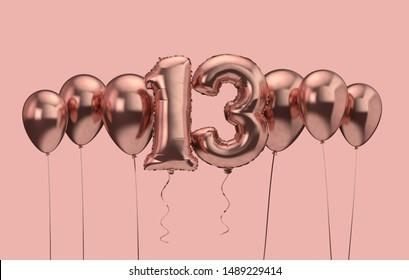 13th birthday pink balloon background. Happy Birthday. 3D Rendering