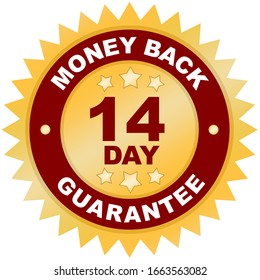 14 Day Money Back Guarantee product label or badge or sticker image isolated on white background